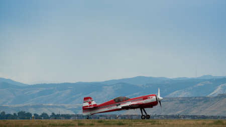Vintage airplane at the Rocky Mountain Airshow in Broomfield, Colorado. Editorial
