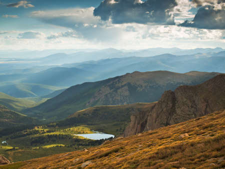 colorado: On a hazy summer Evening at 13,000 feet you can see forever--almost to the prairies of Kansas from here. Mount Evans Wilderness, Front Range, Colorado.