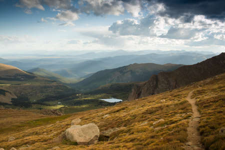On a hazy summer Evening at 13,000 feet you can see forever--almost to the prairies of Kansas from here. Mount Evans Wilderness, Front Range, Colorado. Stock Photo - 10633799