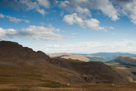 mount evans: On a hazy summer Evening at 13,000 feet you can see forever--almost to the prairies of Kansas from here. Mount Evans Wilderness, Front Range, Colorado.