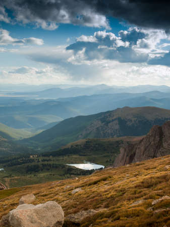 On a hazy summer Evening at 13,000 feet you can see forever--almost to the prairies of Kansas from here. Mount Evans Wilderness, Front Range, Colorado. Stock Photo - 10633852