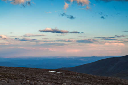 front range: On a hazy summer Evening at 13,000 feet you can see forever--almost to the prairies of Kansas from here. Mount Evans Wilderness, Front Range, Colorado.