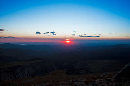 Sunrise at 13,000 feet you can see Denver from here. Mount Evans Wilderness, Front Range, Colorado. photo