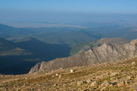 mount evans: On a hazy summer morning at 13,000 feet you can see forever--almost to the prairies of Kansas from here. Mount Evans Wilderness, Front Range, Colorado.