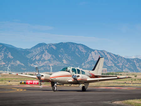Private airplane at the Rocky Mountain Airshow in Broomfield, Colorado.