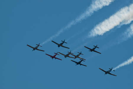 broomfield: Vintage airplane flying in formation at the Rocky Mountain Airshow in Broomfield, Colorado.