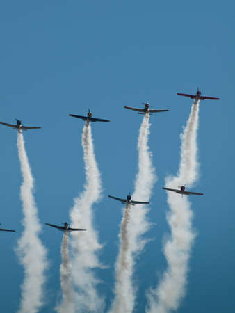 Vintage airplane flying in formation at the Rocky Mountain Airshow in Broomfield, Colorado.