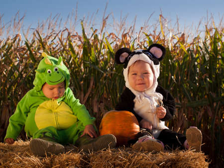 Toddlers dressed up in cute costumes at the pumpkin patch. Stock Photo - 10807126