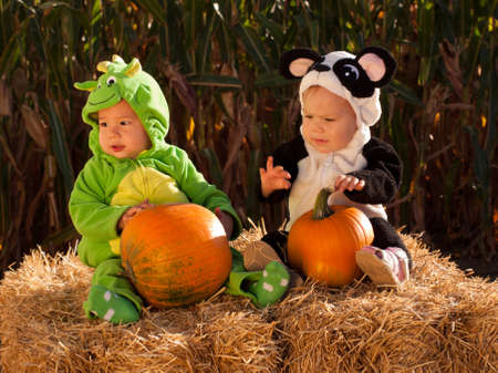 Toddlers dressed up in cute costumes at the pumpkin patch. Stock Photo - 10807078