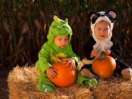 Toddlers dressed up in cute costumes at the pumpkin patch. Stock Photo - 10806578