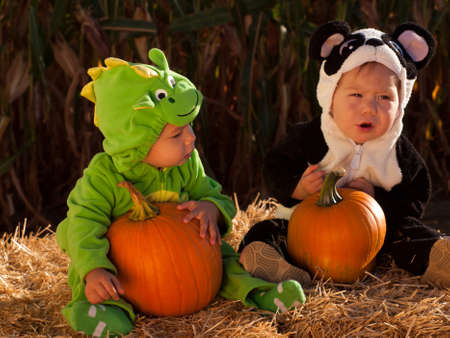 Toddlers dressed up in cute costumes at the pumpkin patch. Stock Photo - 10805970