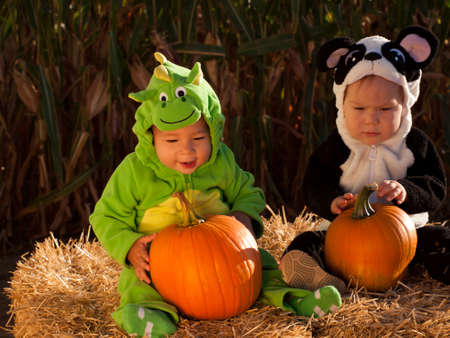 Toddlers dressed up in cute costumes at the pumpkin patch. Stock Photo - 10807077
