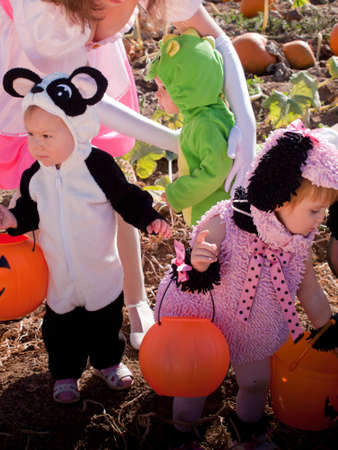 Toddlers and their mother dressed up in cute costumes at the pumpkin patch.