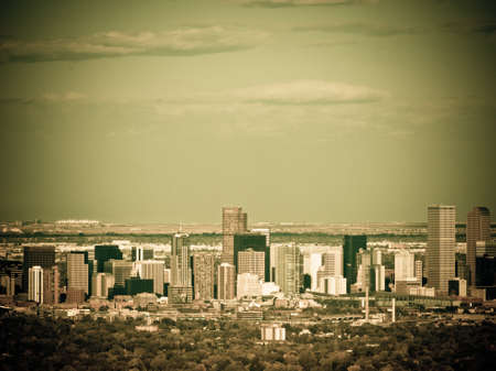 A view of downtown  Denver right before sunset.