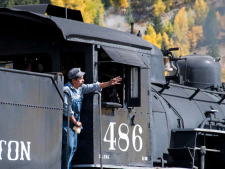 narrow gauge: Steam locomotive engine. This train is in daily operation on the narrow gauge railroad between Durango and Silverton Colorado