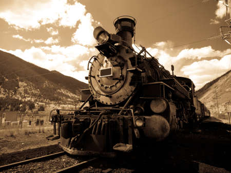 steam train: Steam locomotive engine. This train is in daily operation on the narrow gauge railroad between Durango and Silverton Colorado