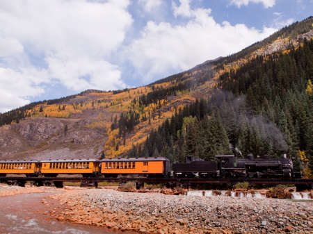 narrow gauge railways: Steam locomotive engine. This train is in daily operation on the narrow gauge railroad between Durango and Silverton Colorado