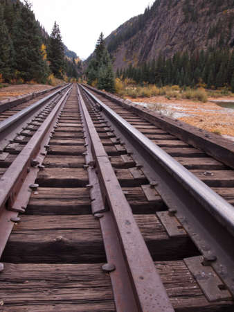 Railroad tracks. This train is in daily operation on the narrow gauge railroad between Durango and Silverton Colorado