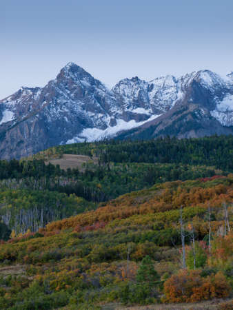 well known: The Dallas Divide is a Colorado icon, well known for its vivid fall colors produced by scrub oak and aspens. Stock Photo