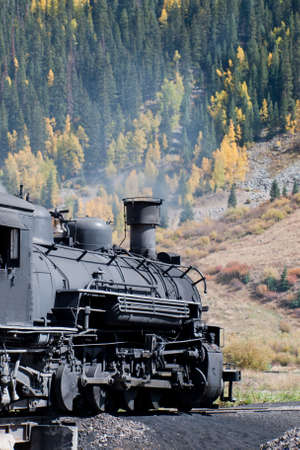 Steam locomotive engine. This train is in daily operation on the narrow gauge railroad between Durango and Silverton Colorado