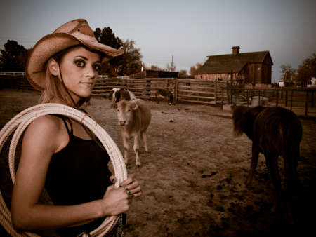 Country girl on the farm. Longmont, Colorado. photo