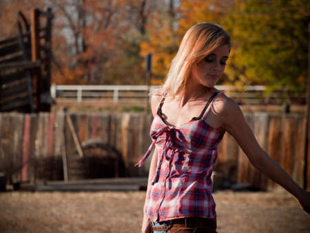 Country girl on the farm. Longmont, Colorado. photo