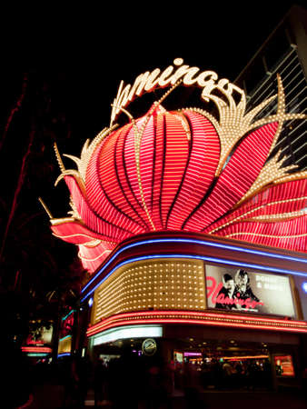 Corner view of the Flamingo Hotel in Las Vegas, Nevada.