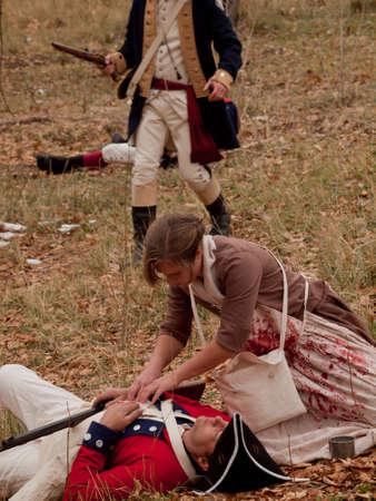 vermoord: Reenactment van de Revolutionaire Oorlog aan de Four Mile Historic Park. Denver, Colorado.
