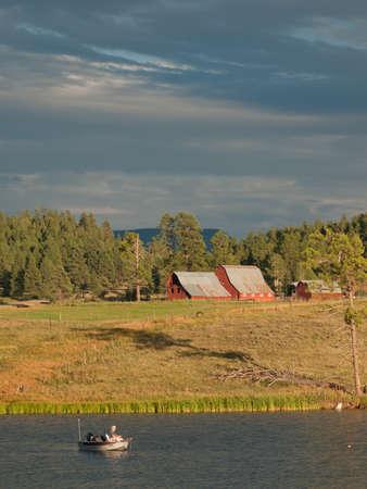 echo: Red barn on the farm at Echo Canyon Reservoir, Colorado.