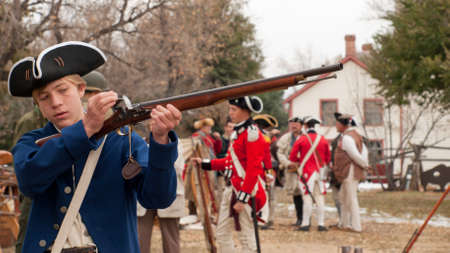 Reenactment of the Revolutionary War at the Four Mile Historic Park.  Denver, Colorado.
