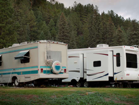campsite: RV campsite at sunrise in Pagosa Springs, Colorado.