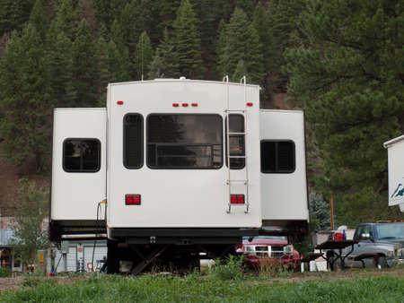 RV campsite at sunrise in Pagosa Springs, Colorado. photo