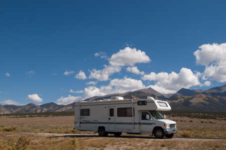 Motor home near the Great Sand Dunes, Colorado. Stock Photo