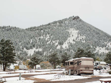 RV campsite in snow at Estes park, Colorado. photo