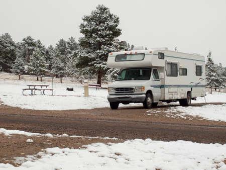 campsite: RV campsite in snow at Estes park, Colorado.