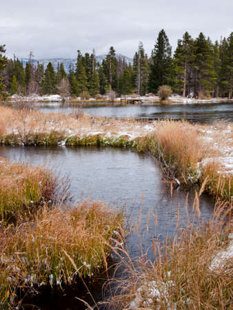 FIrst snow at Sprague Lake in Rocky Mountain National Park, Colorado. photo