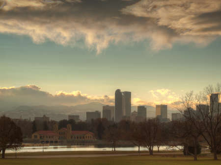 denver skyline: A view of Denver, Colorado downtown right before sunset. Stock Photo