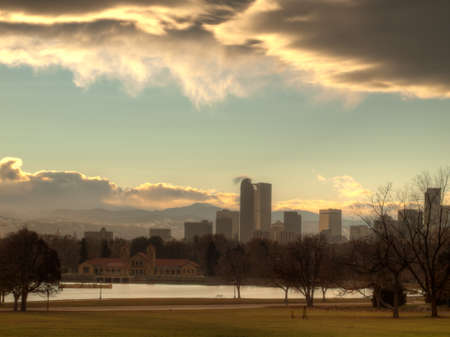 mile high city: A view of Denver, Colorado downtown right before sunset. Stock Photo