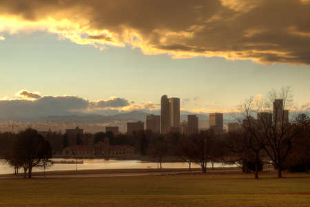 A view of Denver, Colorado downtown right before sunset. photo