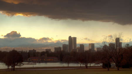 A view of Denver, Colorado downtown right before sunrise. photo