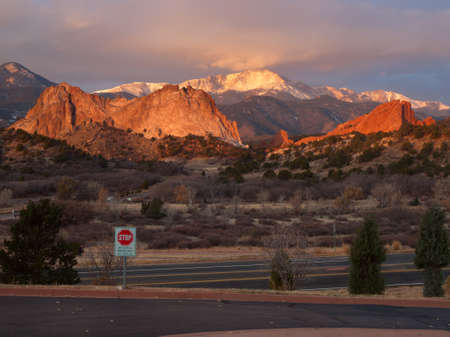 Sunrise at Garden of the Gods Rock Formation in Colorado. photo