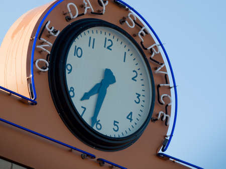 Clock on Ethels Beauty Salon and 88� Variety Store at the Lakewood Heritage Center, Colorado.