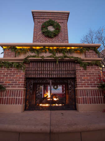 outdoor fireplace: 3rd Annual Christmas Tree Lighting at the Streets of Southglenn. Denver, Colorado.