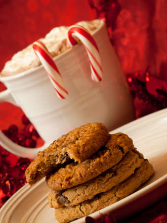 Hot cocoa with candy canes and few cookies. Stock Photo - 11420906