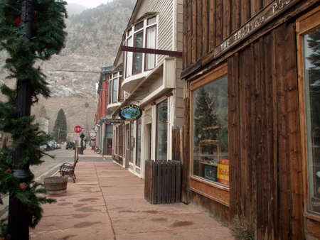shop window: Winter on Main Street of Georgetown, Colorado.