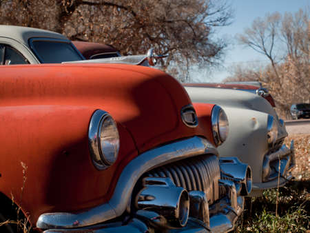 Old cars at the garage in Ramah, Colorado.