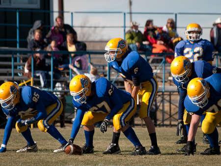 High school football game Simla vs Elbert in Simla, Colorado. Redactioneel
