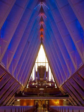 cadet blue: Interior of Air Force Chapel in Colorado Springs, Colorado.