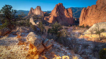 rock formation: Sunrise at Garden of the Gods Rock Formation in Colorado.