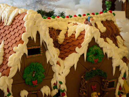 Gingerbread house in  historical Broadmoor Hotel during the White Lights ceremony.